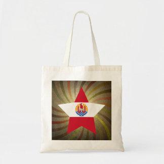 Vintage French Polynesian Flag Swirl Budget Tote Bag