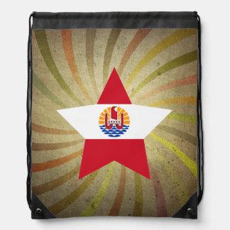 Vintage French Polynesian Flag Swirl Cinch Bags