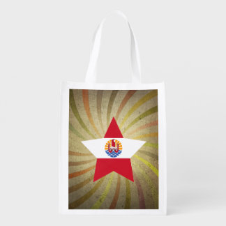 Vintage French Polynesian Flag Swirl Grocery Bags