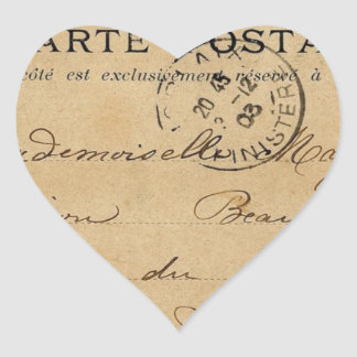 Vintage French Post Card Heart Sticker