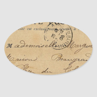Vintage French Post Card Oval Sticker