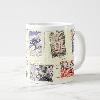Vintage French Postage Large Coffee Mug