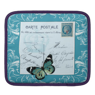 Vintage French postal collage butterfly blue crown iPad Sleeve
