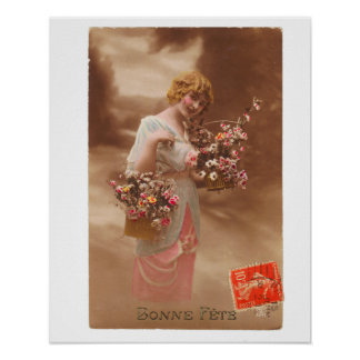 Vintage French Postcard bonne année happy new year Poster