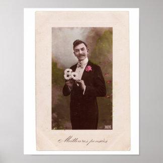 Vintage French Postcard Man Poster