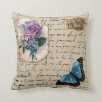 Vintage French Postcard Throw Pillow