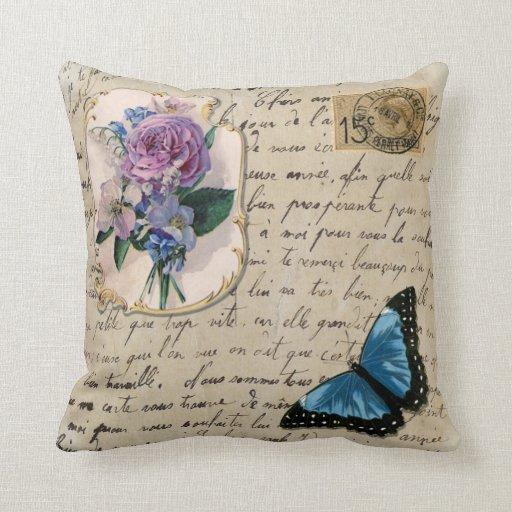 Retro Decorative Pillows : Vintage French Postcard Throw Pillows Zazzle