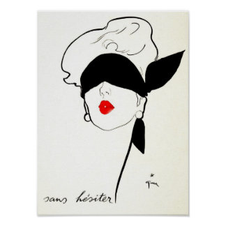 Vintage French Poster Blindfolded Woman