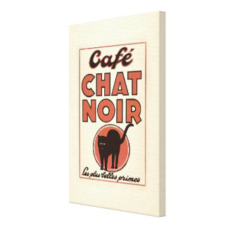 "Vintage french poster ""Café chat noir"" Canvas Print"