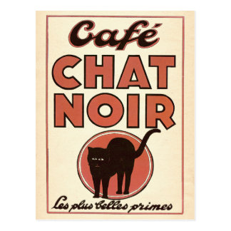 "Vintage french poster ""Café chat noir"" Postcard"