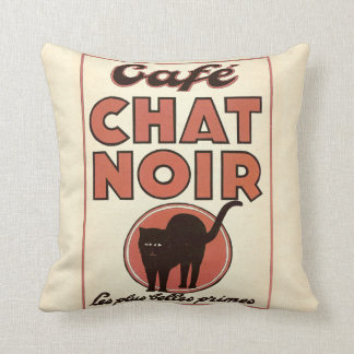 """Vintage french poster """"Café chat noir"""" Throw Pillow"""