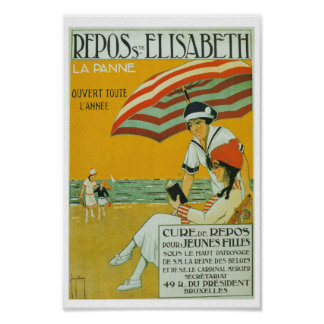 Vintage French poster holiday summer beach