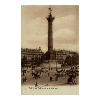 Vintage French Poster - La Place de la Bastille