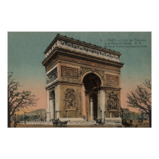 Vintage French Poster - The Arc de Triomphe and Sq