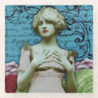 Vintage French Pretty Girl Collage Flowers Glass Coaster