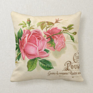 Vintage French Publicity Girly Red  Roses Throw Pillow