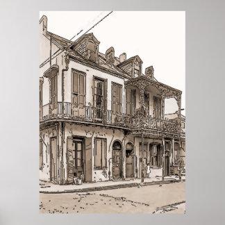 Vintage French Quarter, New Orleans Poster