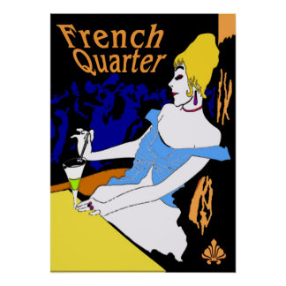 Vintage French Quarter Woman Poster
