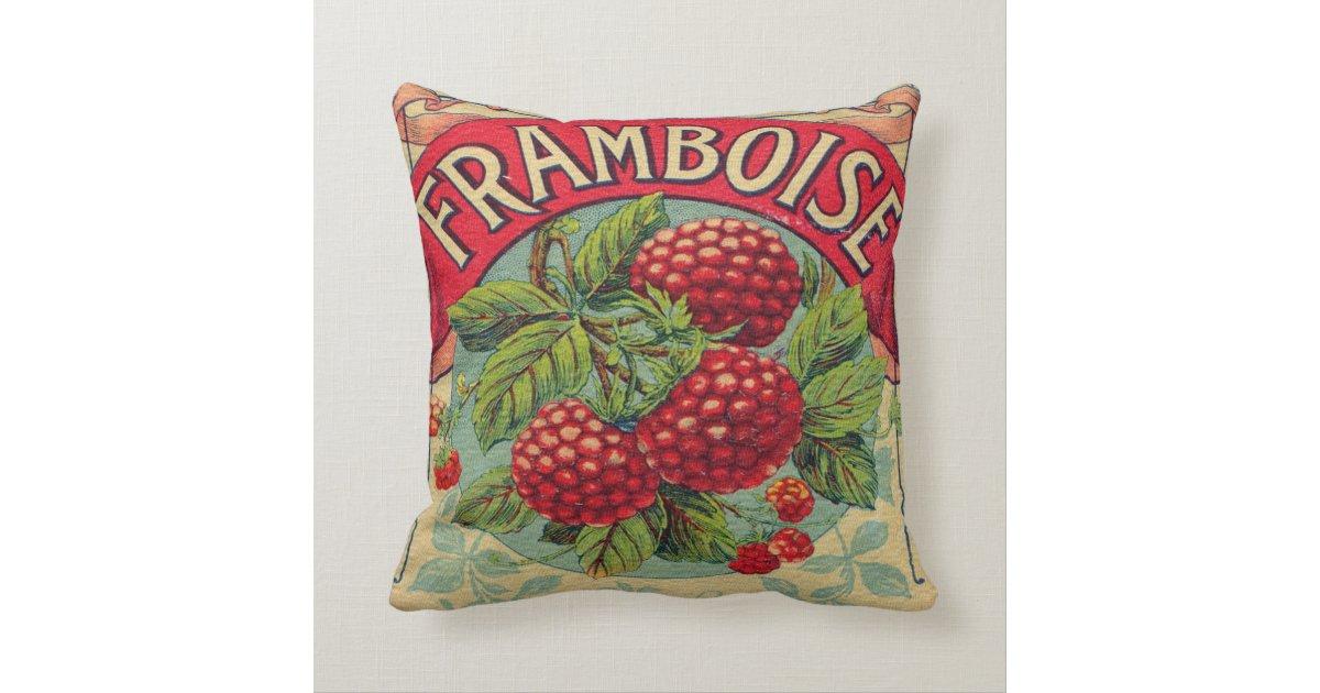Throw Pillows Rules : Vintage French Raspberry Label Throw Pillow Zazzle.com