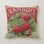 Vintage French Raspberry Label Throw Pillow