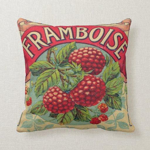 Throw Pillows Rules : Vintage French Raspberry Label Throw Pillow Zazzle