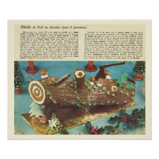 Vintage French recipe, Christmas log, 1930s Poster