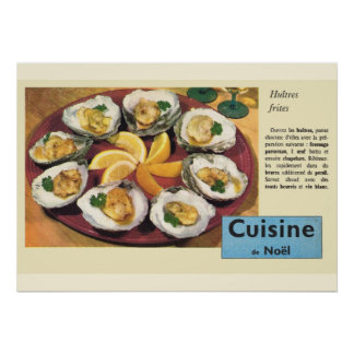 Vintage French recipe, Christmas meal, oysters Poster