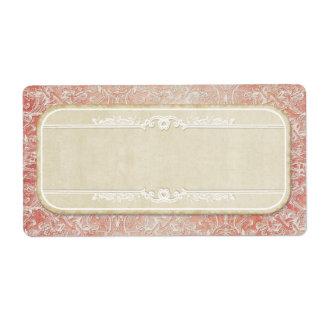 Vintage French Regency Lace Etched Wedding Label