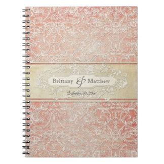 Vintage French Regency Lace Etched Wedding Spiral Notebooks