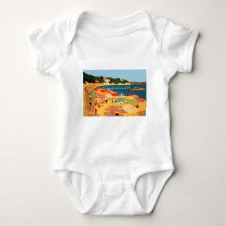 Vintage French Riviera Beach Baby Bodysuit