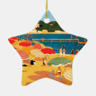 Vintage French Riviera Beach Ceramic Ornament