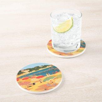 Vintage French Riviera Beach Drink Coaster