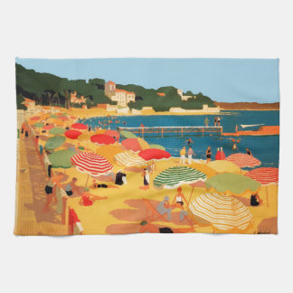 Vintage French Riviera Beach Hand Towel