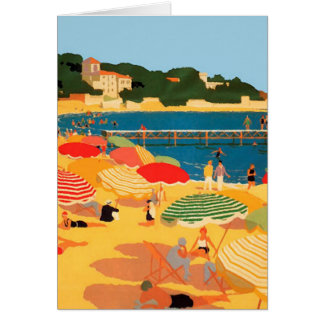 Vintage French Riviera Beach Illustration Card