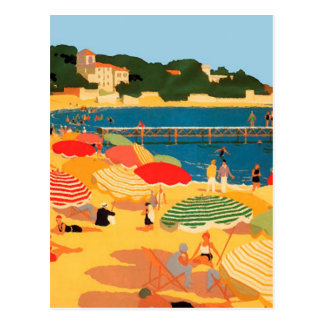 Vintage French Riviera Beach Illustration Postcard
