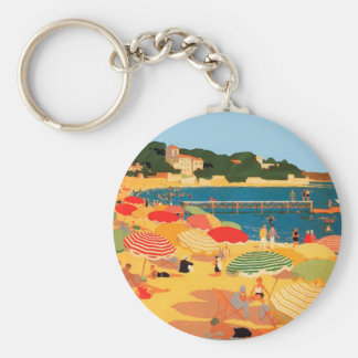 Vintage French Riviera Beach Keychain