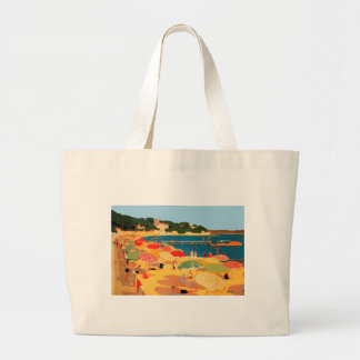 Vintage French Riviera Beach Large Tote Bag