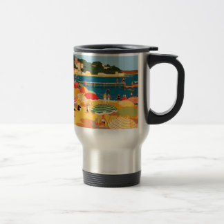 Vintage French Riviera Beach 15 Oz Stainless Steel Travel Mug