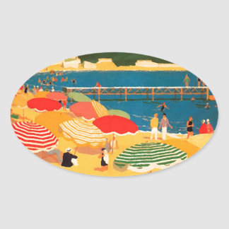 Vintage French Riviera Beach Oval Sticker