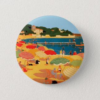 Vintage French Riviera Beach Pinback Button