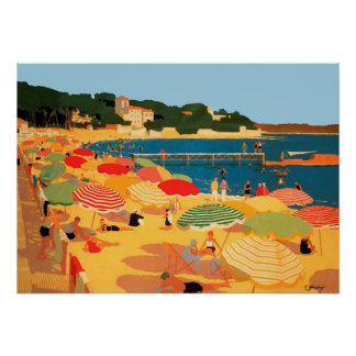 Vintage French Riviera Beach Poster