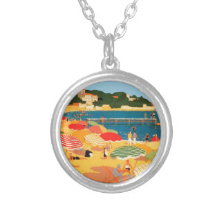 Vintage French Riviera Beach Round Pendant Necklace