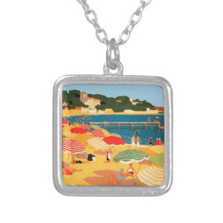 Vintage French Riviera Beach Square Pendant Necklace