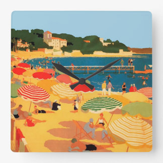 Vintage French Riviera Beach Square Wallclock