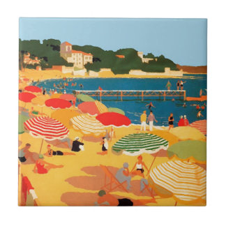 Vintage French Riviera Beach Small Square Tile