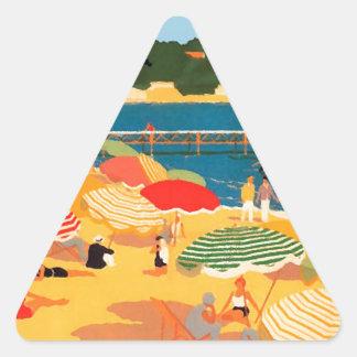 Vintage French Riviera Beach Triangle Sticker