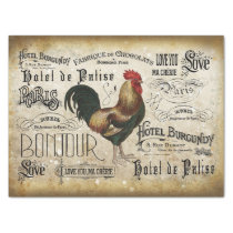 Vintage French Rooster de Paris Decoupage Tissue Paper