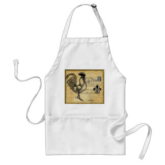 Vintage French Rooster On Burlap Adult Apron