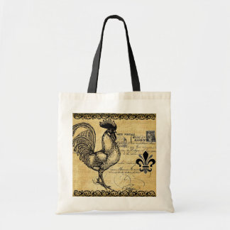 Vintage French Rooster On Burlap Canvas Bags
