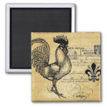 Vintage French Rooster On Burlap 2 Inch Square Magnet